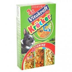 Vitakraft 3 x Crackers Miel, Popcorn, Germes de Blé pour Lapins Nains 160 g