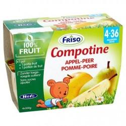 Friso Compotine pomme-poire 4 x 100 g (4-36M)