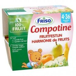 Friso Compotine Harmonie de fruits 4 x 100 g (4-36M)