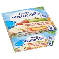 Nestlé® NaturNes® Pomme Banane Fraise Bébé 6 Mois 4 x 100 g