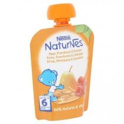 Nestlé® NaturNes® Gourde Poire Framboise Céréales Bébé 6 Mois 90 g