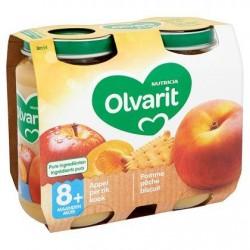 Olvarit Pomme Pêche Biscuit 8+ Mois 2 x 200 g