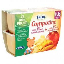 Friso Compotine Pomme-Ananas + Pomme-Mangue 8-36 Mois 4 x 100