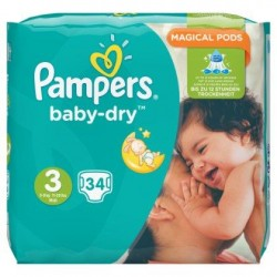 Pampers Baby-Dry Taille 3 (Midi) 5-9 kg 34 Langes