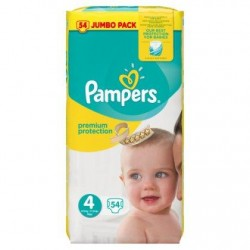 Pampers Premium Protection Taille 4, 8-16kg, 54 Langes