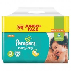Pampers Baby-Dry Langes Taille 3 (Midi) 5-9 kg 90 Pièces