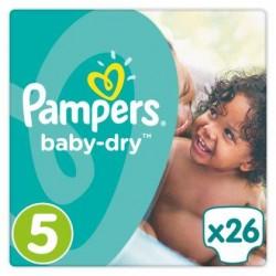 Pampers Baby-Dry T5, 26 Langes, Jusqu'a 12h Bien Au Sec