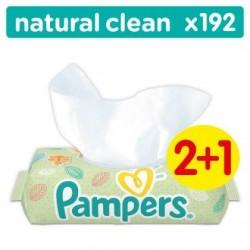 Pampers Natural Clean Lingettes Bébé Lot De 3 Paquets Soit 192 Lingettes