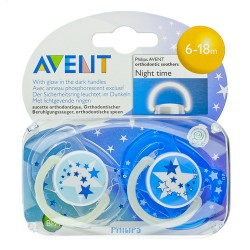 PHILIPS AVENT tetines silicone +6M nuit  2 pièces