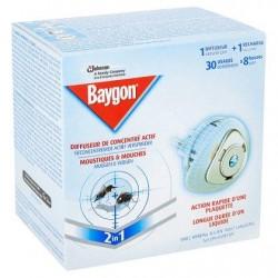Baygon Diffuseur de Concentré Actif Moustiques & Mouches 2 en 1