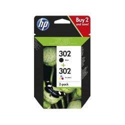 HP 302 Duo Pack Noir + Magenta - Jaune - Cyan (X4D37AE)